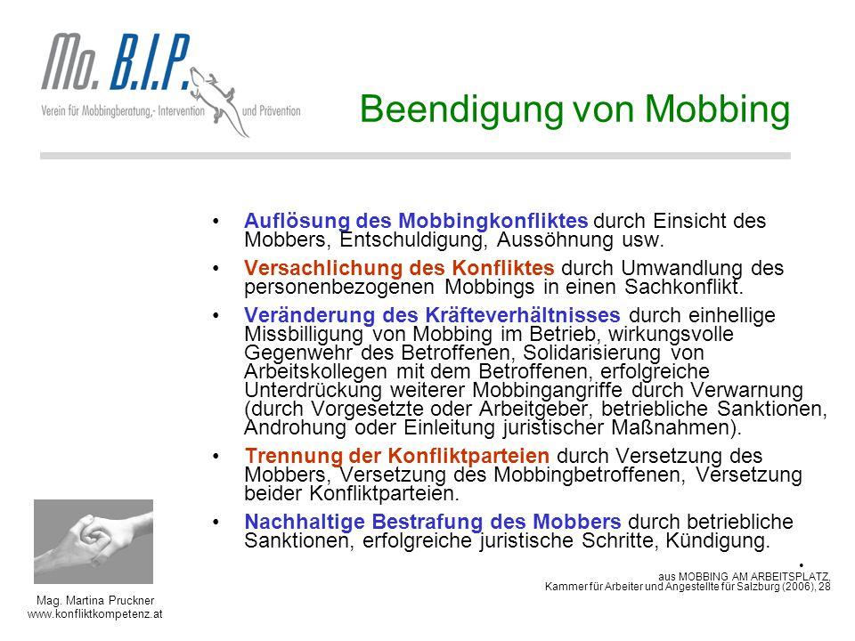 Mag. Martina Pruckner www.konfliktkompetenz.at Auflösung des Mobbingkonfliktes durch Einsicht des Mobbers, Entschuldigung, Aussöhnung usw. Versachlich