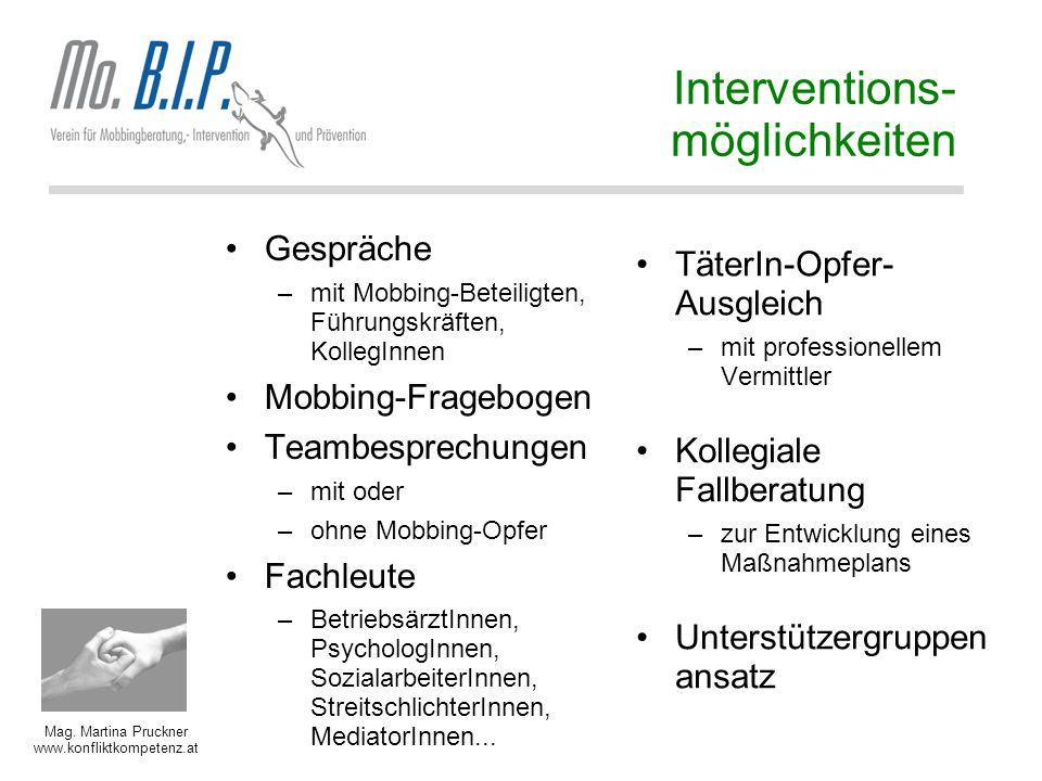 Mag. Martina Pruckner www.konfliktkompetenz.at Interventions- möglichkeiten Gespräche –mit Mobbing-Beteiligten, Führungskräften, KollegInnen Mobbing-F