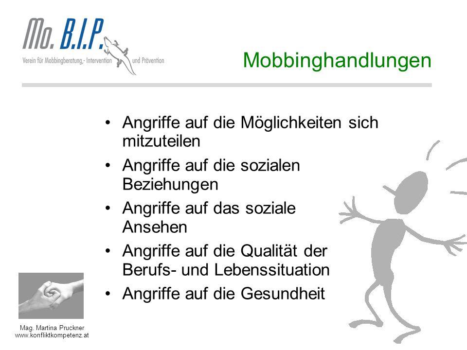Mag. Martina Pruckner www.konfliktkompetenz.at Mobbinghandlungen Angriffe auf die Möglichkeiten sich mitzuteilen Angriffe auf die sozialen Beziehungen