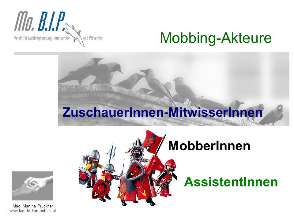 Mag. Martina Pruckner www.konfliktkompetenz.at Mobbing-Akteure ZuschauerInnen-MitwisserInnen MobberInnen AssistentInnen