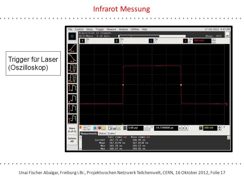 Unai Fischer Abaigar, Freiburg i.Br., Projektwochen Netzwerk Teilchenwelt, CERN, 16 Oktober 2012, Folie 17 Infrarot Messung Trigger für Laser (Oszillo