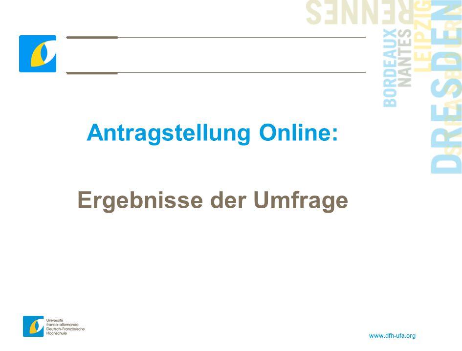 www.dfh-ufa.org Antragstellung Online: Ergebnisse der Umfrage
