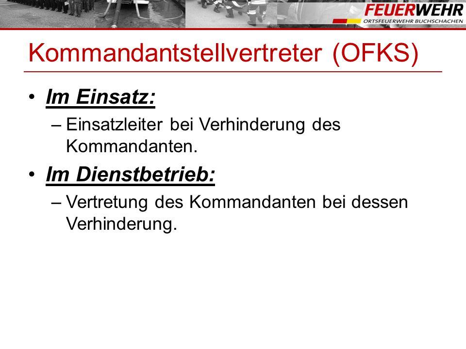 Kommandantstellvertreter (OFKS) Im Einsatz: –Einsatzleiter bei Verhinderung des Kommandanten. Im Dienstbetrieb: –Vertretung des Kommandanten bei desse