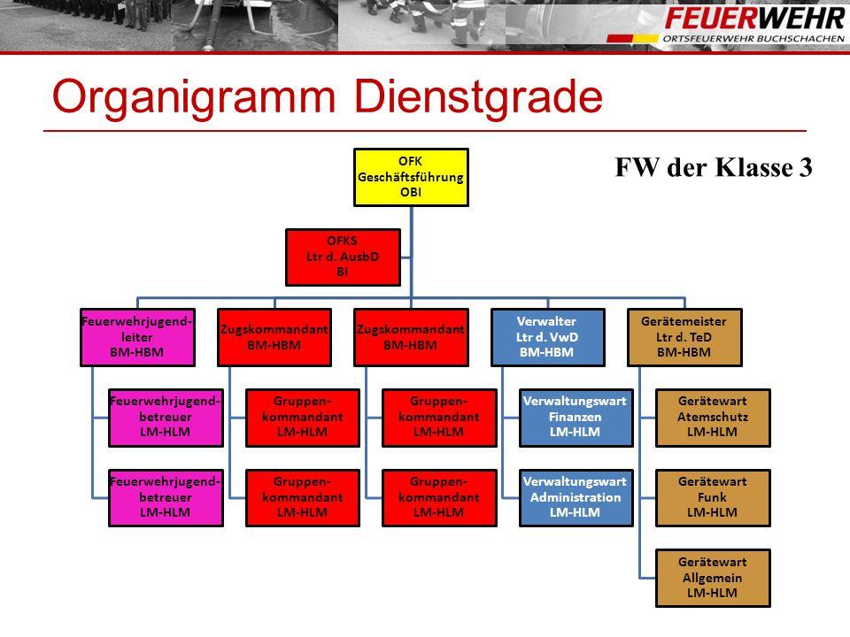 Organigramm Dienstgrade OFK Geschäftsführung OBI Feuerwehrjugend- leiter BM-HBM Feuerwehrjugend- betreuer LM-HLM Zugskommandant BM-HBM Gruppen- komman