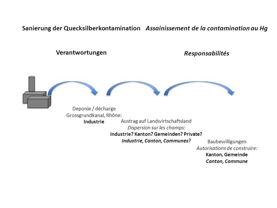 Sanierung der Quecksilberkontamination Verantwortungen Assainissement de la contamination au Hg Responsabilités Deponie / décharge Grossgrundkanal, Rhône: Industrie Austrag auf Landwirtschaftsland Dispersion sur les champs: Industrie.