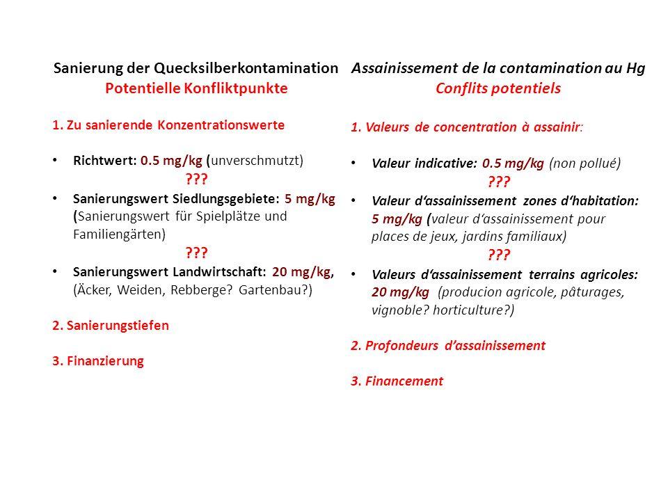 Sanierung der Quecksilberkontamination Potentielle Konfliktpunkte 1.