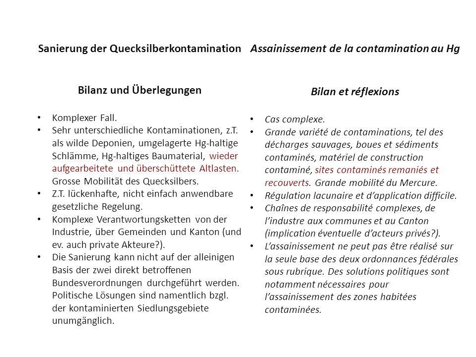 Sanierung der Quecksilberkontamination Bilanz und Überlegungen Komplexer Fall.