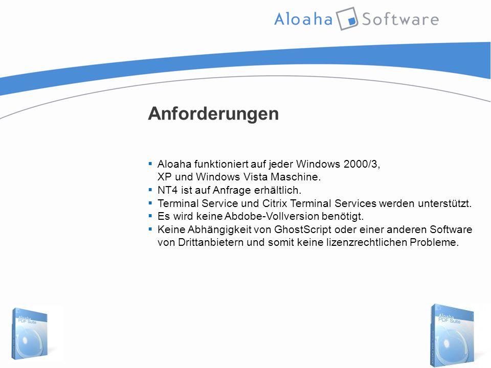Anforderungen  Aloaha funktioniert auf jeder Windows 2000/3, XP und Windows Vista Maschine.