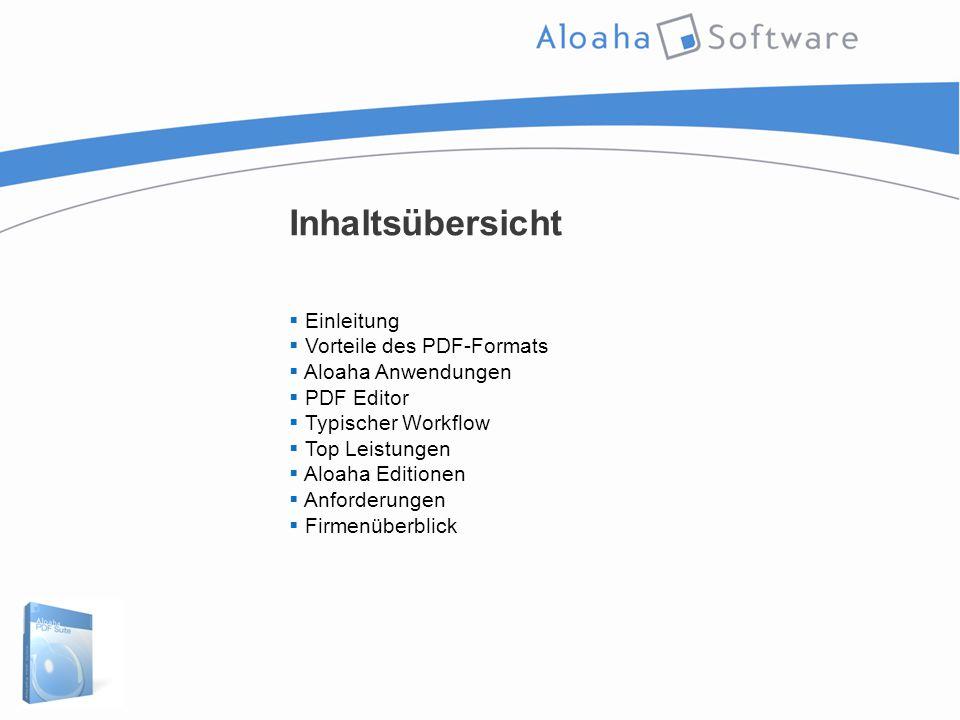 Inhaltsübersicht  Einleitung  Vorteile des PDF-Formats  Aloaha Anwendungen  PDF Editor  Typischer Workflow  Top Leistungen  Aloaha Editionen  Anforderungen  Firmenüberblick