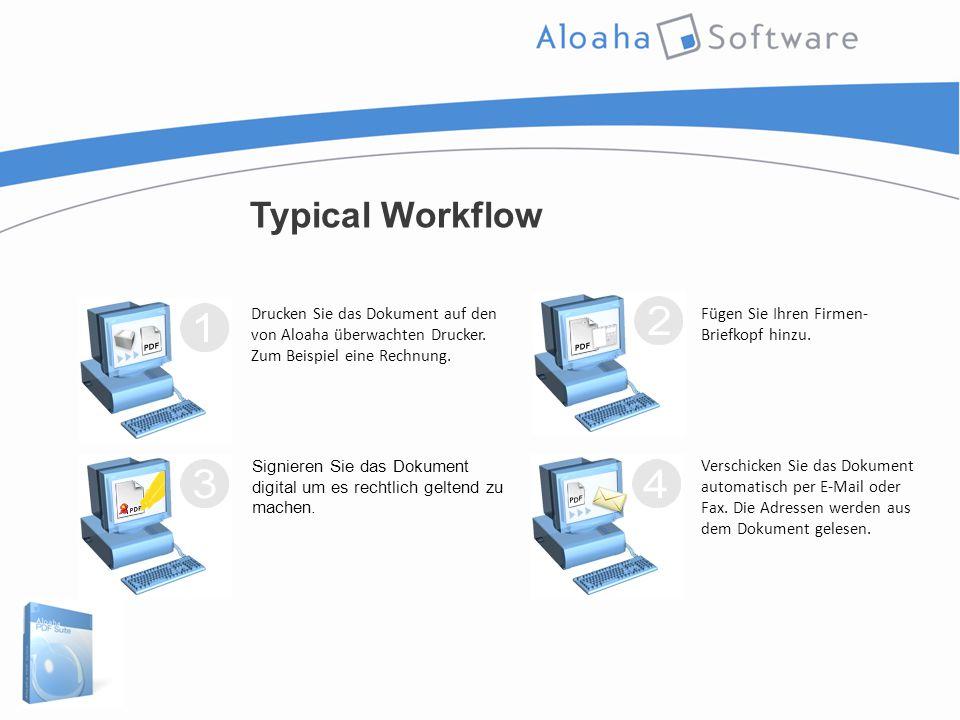 Typical Workflow Drucken Sie das Dokument auf den von Aloaha überwachten Drucker.