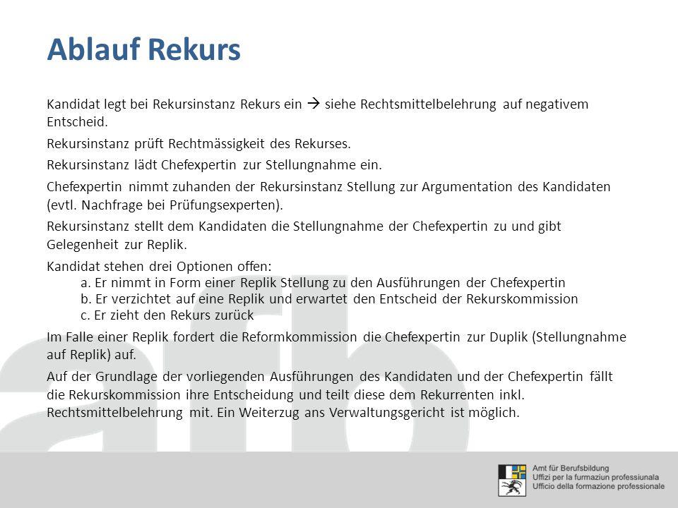 Ablauf Rekurs Kandidat legt bei Rekursinstanz Rekurs ein  siehe Rechtsmittelbelehrung auf negativem Entscheid. Rekursinstanz prüft Rechtmässigkeit de
