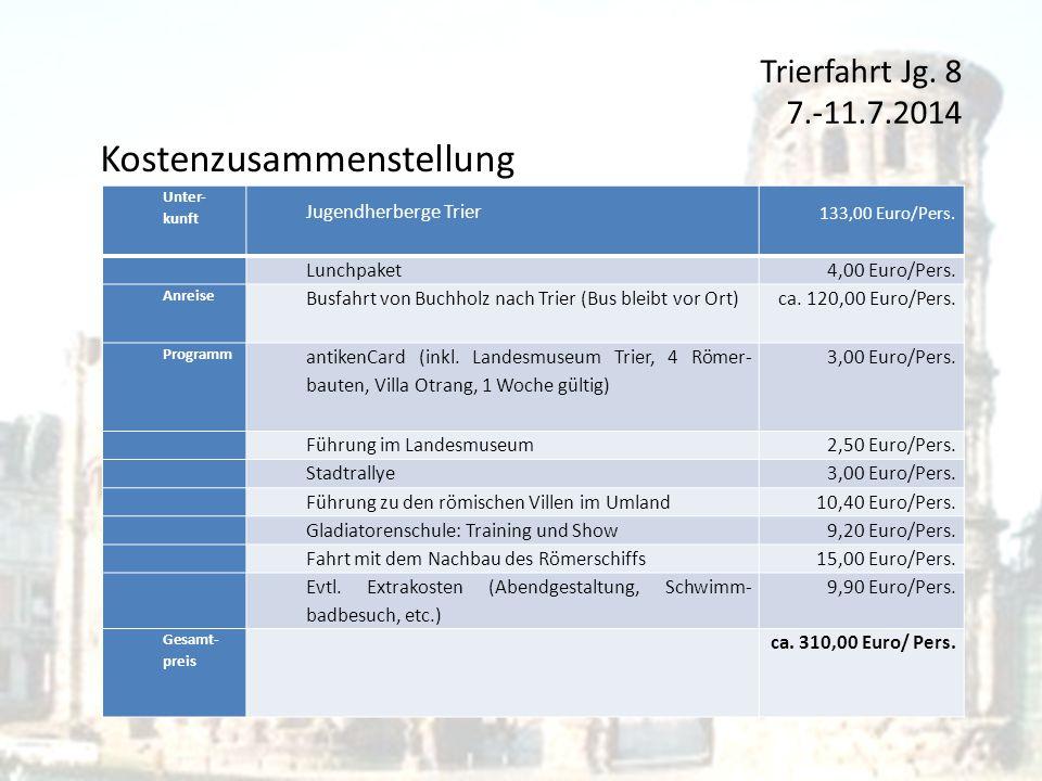 Trierfahrt Jg. 8 7.-11.7.2014 Kostenzusammenstellung Unter- kunft Jugendherberge Trier 133,00 Euro/Pers. Lunchpaket4,00 Euro/Pers. Anreise Busfahrt vo