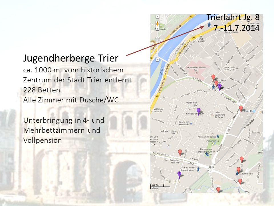 Jugendherberge Trier ca. 1000 m. vom historischem Zentrum der Stadt Trier entfernt 228 Betten Alle Zimmer mit Dusche/WC Unterbringung in 4- und Mehrbe