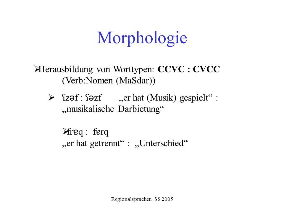 """Regionalsprachen_SS 2005 Morphologie  Herausbildung von Worttypen: CCVC : CVCC (Verb:Nomen (MaSdar))  ʕ z ə f : ʕ ə zf""""er hat (Musik) gespielt"""" : """"m"""