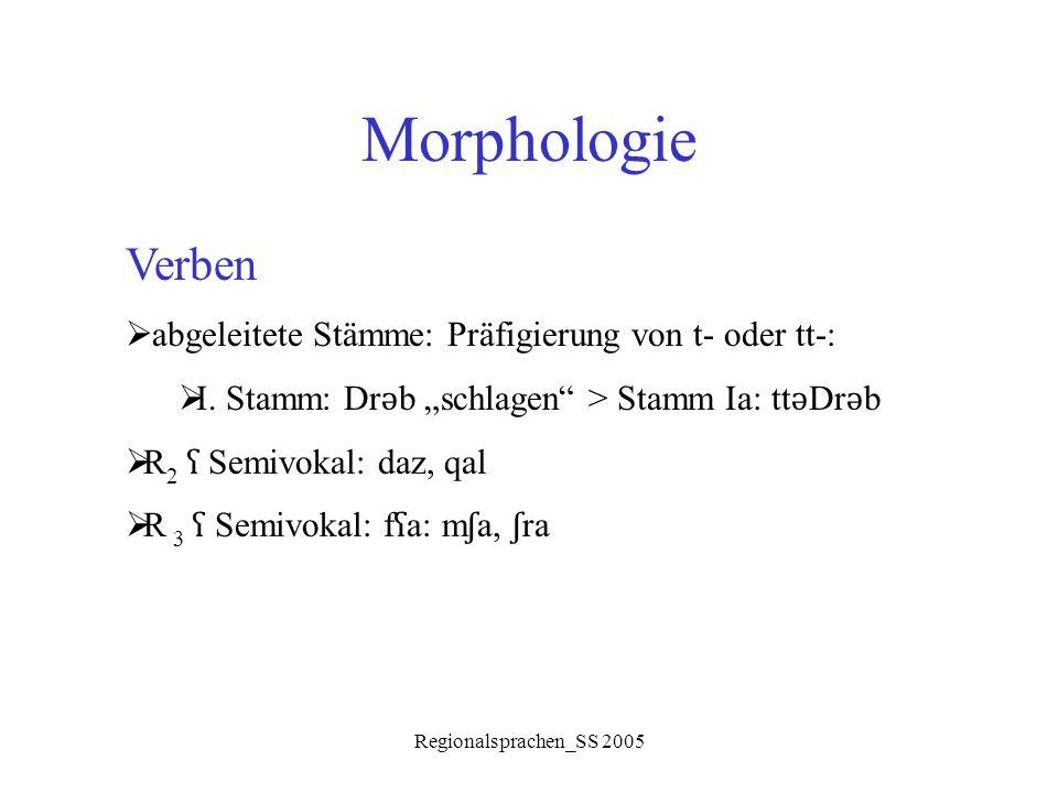 """Regionalsprachen_SS 2005 Morphologie Verben  abgeleitete Stämme: Präfigierung von t- oder tt-:  I. Stamm: Dr ǝ b """"schlagen"""" > Stamm Ia: tt ǝ Dr ǝ b"""