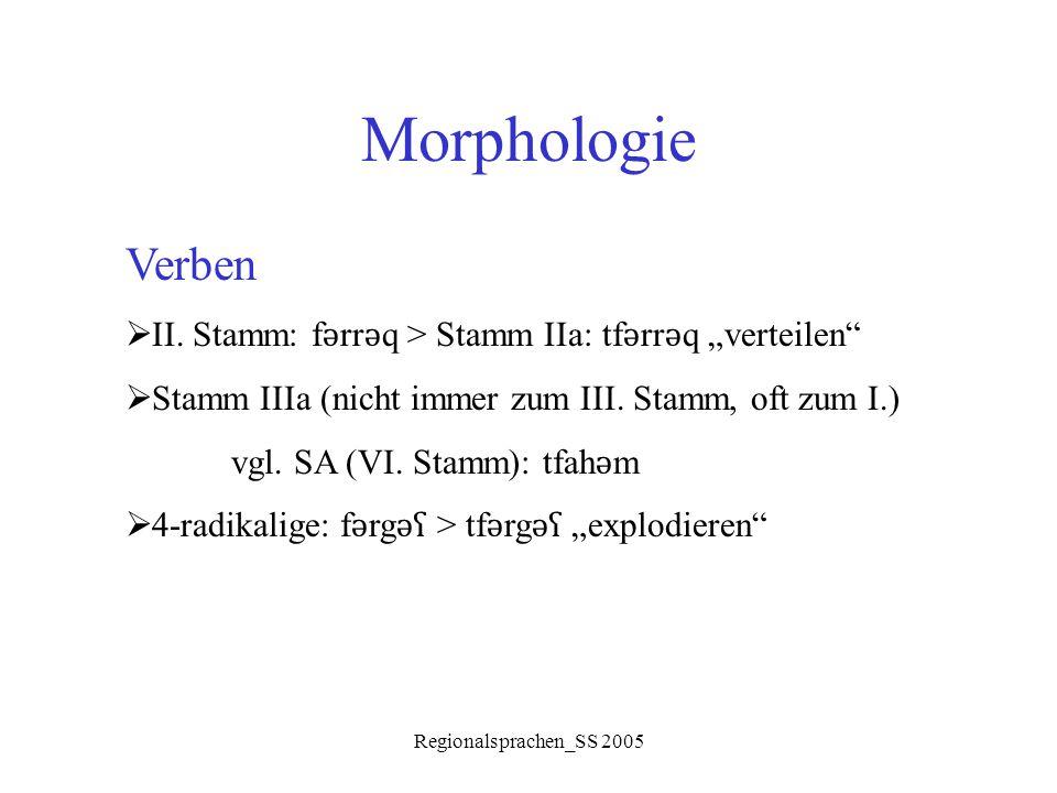"""Regionalsprachen_SS 2005 Morphologie Verben  II. Stamm: f ǝ rr ǝ q > Stamm IIa: tf ǝ rr ǝ q """"verteilen""""  Stamm IIIa (nicht immer zum III. Stamm, oft"""