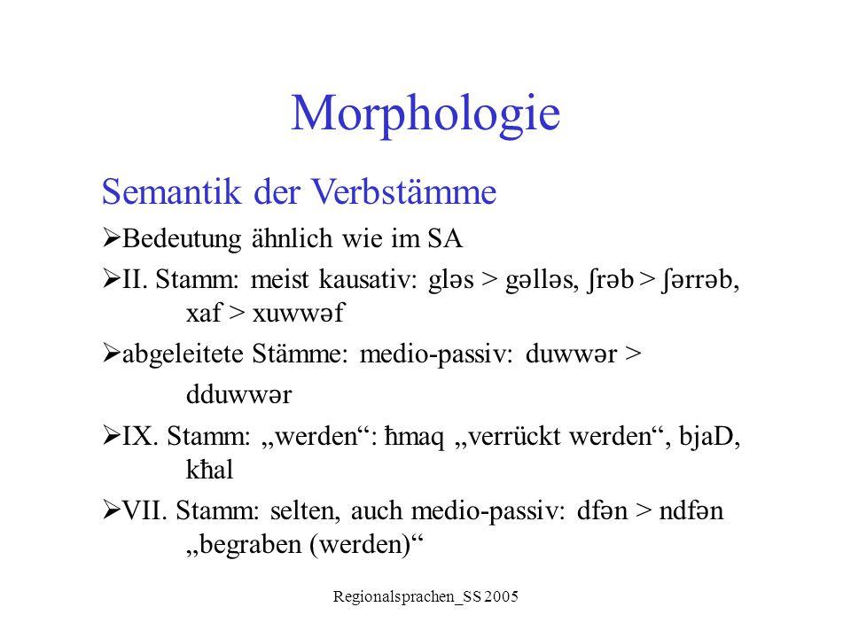 Regionalsprachen_SS 2005 Morphologie Semantik der Verbstämme  Bedeutung ähnlich wie im SA  II. Stamm: meist kausativ: gl ǝ s > g ǝ ll ǝ s, ʃ r ǝ b >