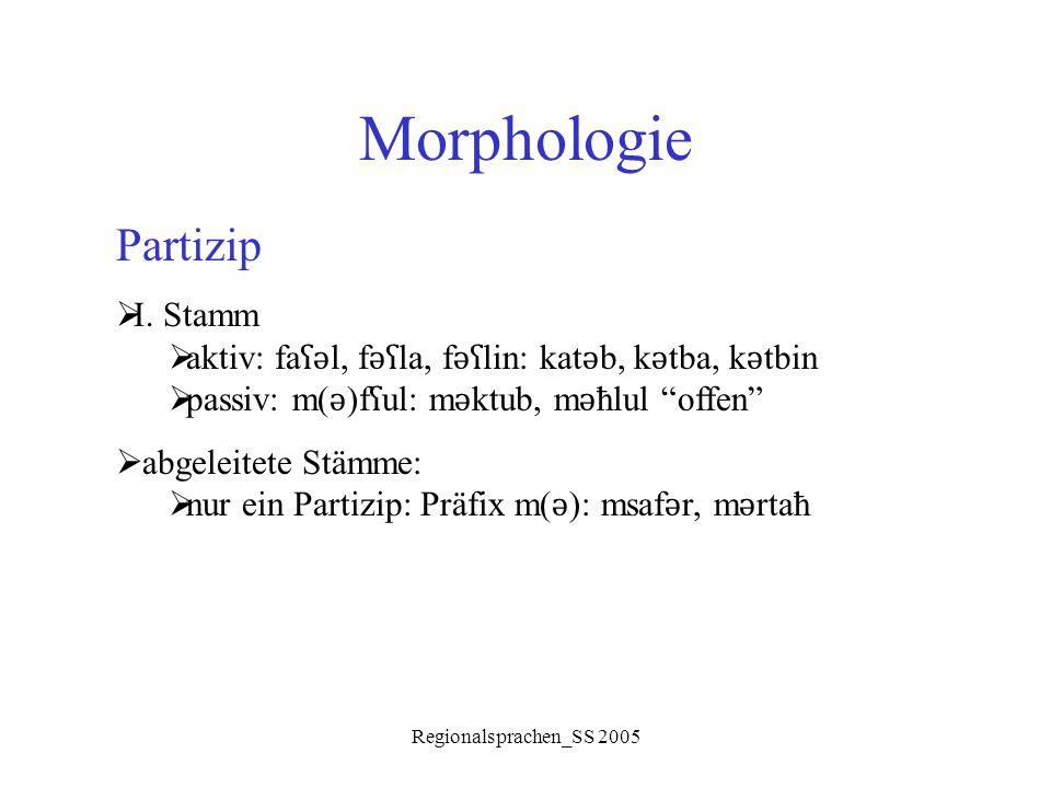 Regionalsprachen_SS 2005 Morphologie Partizip  I. Stamm  aktiv: fa ʕǝ l, f ǝʕ la, f ǝʕ lin: kat ǝ b, k ǝ tba, k ǝ tbin  passiv: m( ǝ )f ʕ ul: m ǝ k