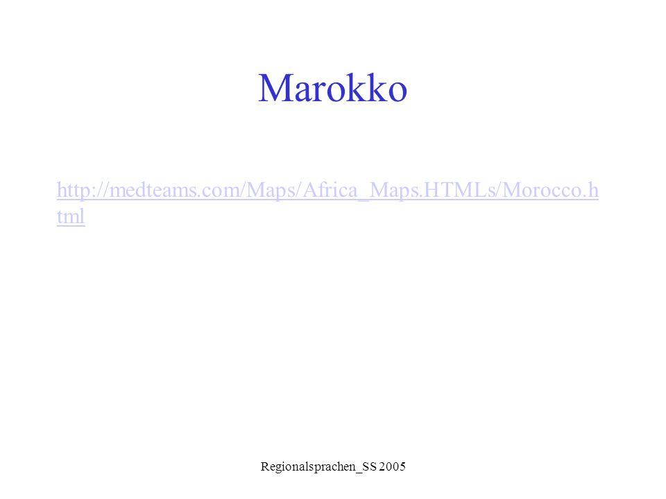 """Regionalsprachen_SS 2005 Morphologie Diminutive: Adjektiva  beginnend mit CCi- SγirSγiw ǝ r klein zwenzwiw ǝ n schön kħ ǝ lkħiħ ǝ l schwarz TwilTwiw ǝ l lang, groß mliħmlil ǝ ħ""""gut"""
