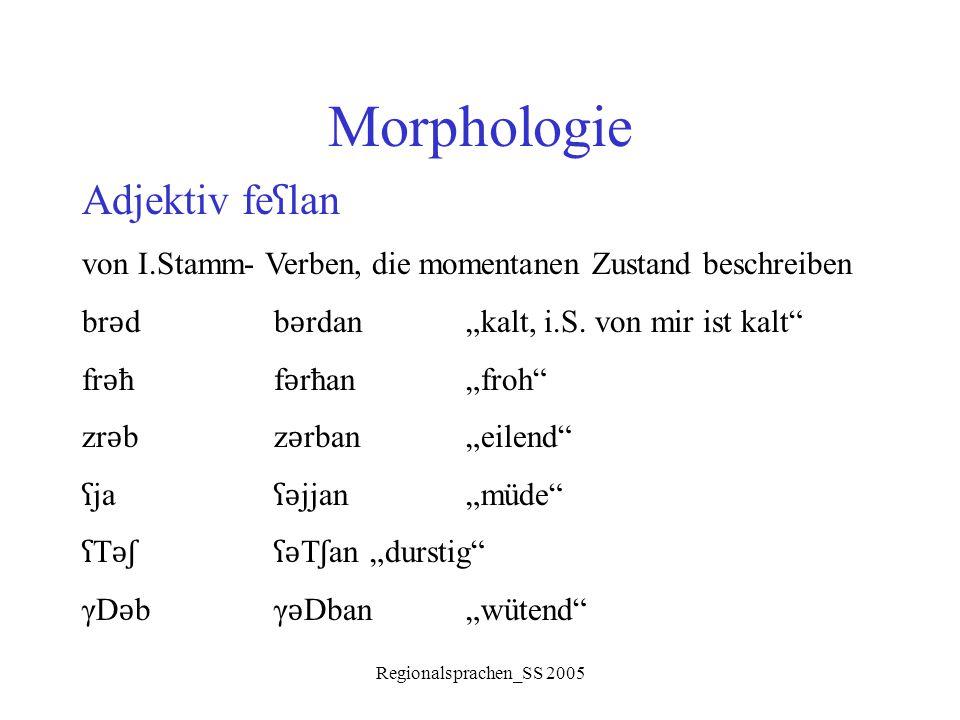 """Regionalsprachen_SS 2005 Morphologie Adjektiv fe ʕ lan von I.Stamm- Verben, die momentanen Zustand beschreiben br ǝ db ǝ rdan""""kalt, i.S. von mir ist k"""
