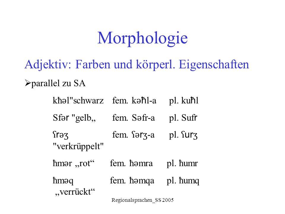 Regionalsprachen_SS 2005 Morphologie Adjektiv: Farben und körperl. Eigenschaften  parallel zu SA kħ ǝ l