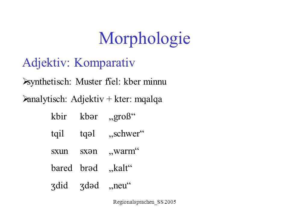 """Regionalsprachen_SS 2005 Morphologie Adjektiv: Komparativ  synthetisch: Muster f ʕ el: kber minnu  analytisch: Adjektiv + kter: mqalqa kbirkb ǝ r""""gr"""