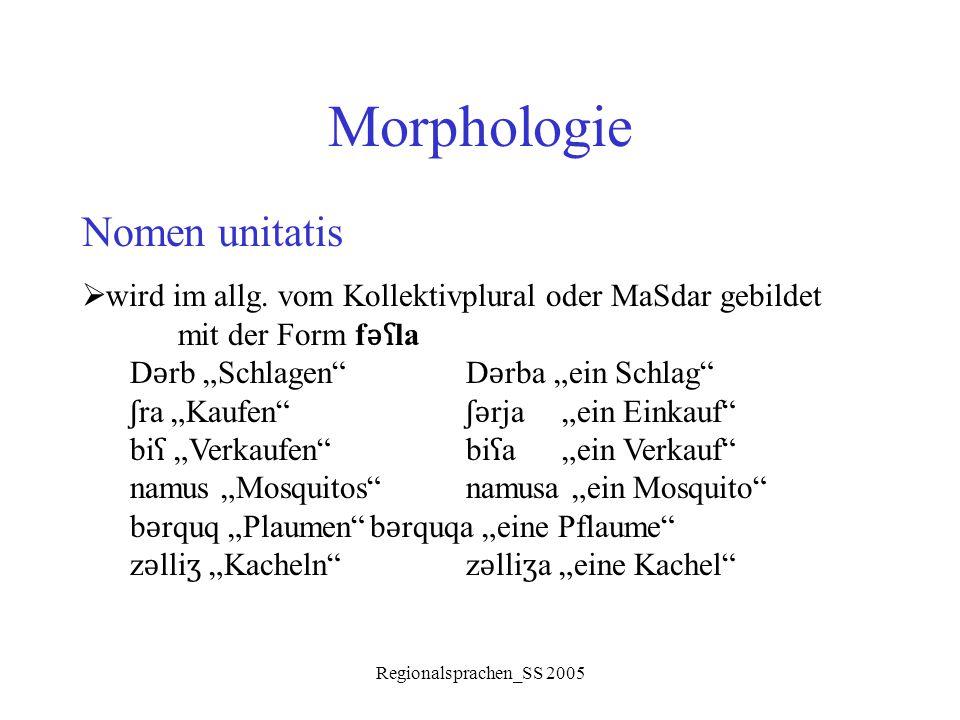 """Regionalsprachen_SS 2005 Morphologie Nomen unitatis  wird im allg. vom Kollektivplural oder MaSdar gebildet mit der Form f ǝʕ la D ǝ rb """"Schlagen""""D ǝ"""