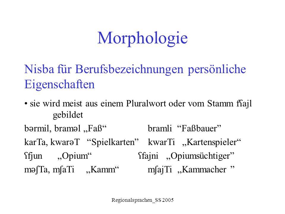 Regionalsprachen_SS 2005 Morphologie Nisba für Berufsbezeichnungen persönliche Eigenschaften sie wird meist aus einem Pluralwort oder vom Stamm f ʕ aj