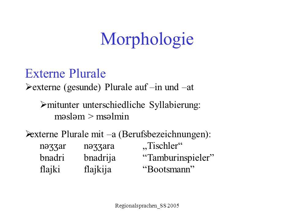 Regionalsprachen_SS 2005 Morphologie Externe Plurale  externe (gesunde) Plurale auf –in und –at  mitunter unterschiedliche Syllabierung: m ǝ sl ǝ m