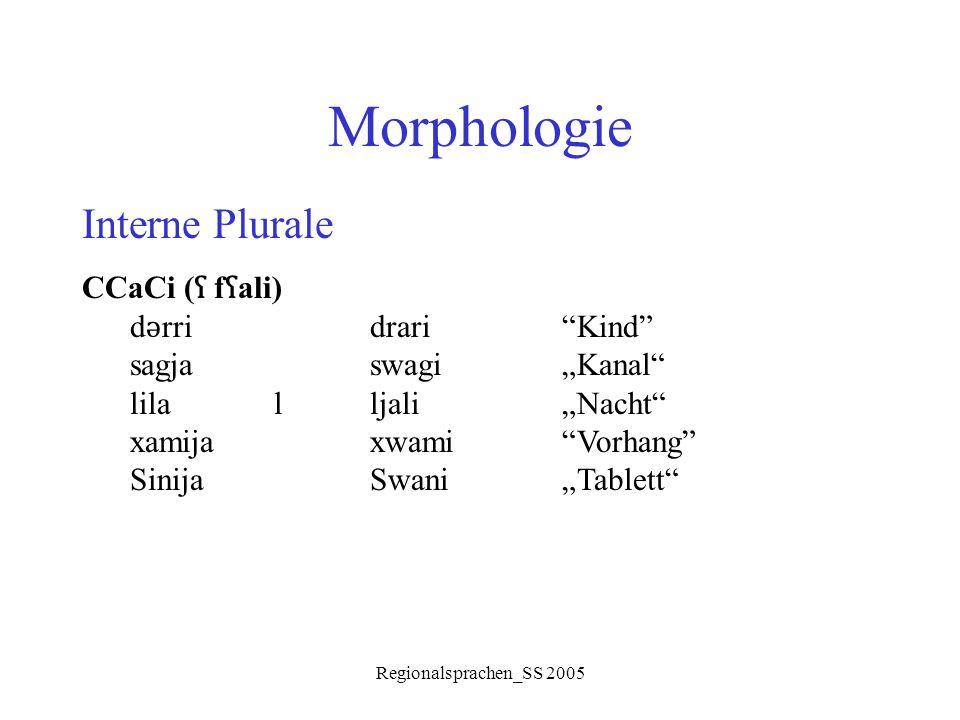 """Regionalsprachen_SS 2005 Morphologie Interne Plurale CCaCi ( ʕ f ʕ ali) d ǝ rridrari""""Kind"""" sagjaswagi""""Kanal"""" lilalljali""""Nacht"""" xamijaxwami""""Vorhang"""" Si"""