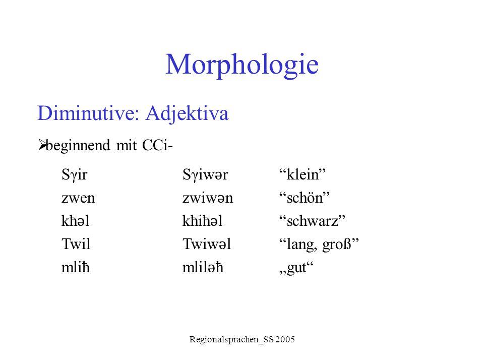 "Regionalsprachen_SS 2005 Morphologie Diminutive: Adjektiva  beginnend mit CCi- SγirSγiw ǝ r""klein"" zwenzwiw ǝ n""schön"" kħ ǝ lkħiħ ǝ l""schwarz"" TwilTw"