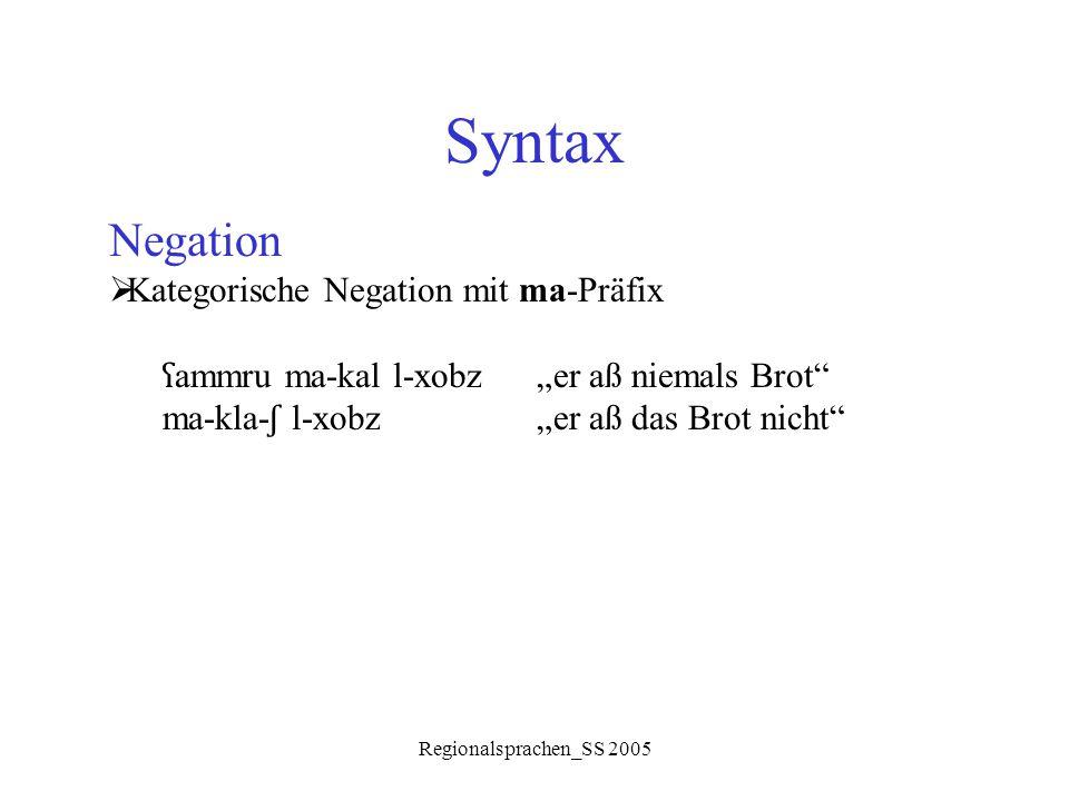 "Regionalsprachen_SS 2005 Syntax Negation  Kategorische Negation mit ma-Präfix ʕ ammru ma-kal l-xobz ""er aß niemals Brot"" ma-kla- ʃ l-xobz""er aß das B"