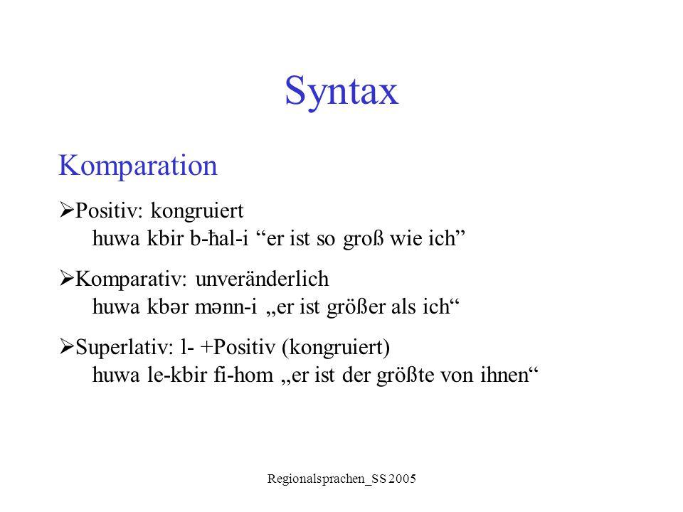 """Regionalsprachen_SS 2005 Syntax Komparation  Positiv: kongruiert huwa kbir b-ħal-i """"er ist so groß wie ich""""  Komparativ: unveränderlich huwa kb ǝ r"""