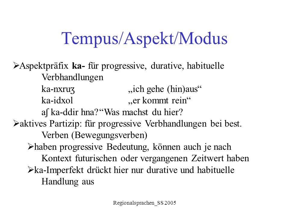"""Regionalsprachen_SS 2005 Tempus/Aspekt/Modus  Aspektpräfix ka- für progressive, durative, habituelle Verbhandlungen ka-nxru ʒ """"ich gehe (hin)aus"""" ka-"""