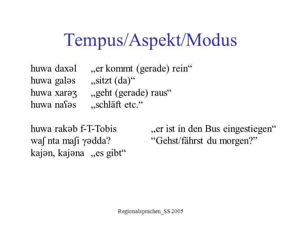 """Regionalsprachen_SS 2005 Tempus/Aspekt/Modus huwa dax ǝ l """"er kommt (gerade) rein"""" huwa gal ǝ s """"sitzt (da)"""" huwa xar ǝʒ """"geht (gerade) raus"""" huwa na"""