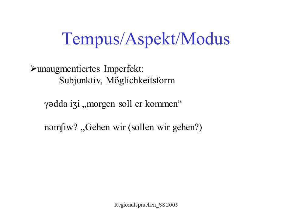 """Regionalsprachen_SS 2005 Tempus/Aspekt/Modus  unaugmentiertes Imperfekt: Subjunktiv, Möglichkeitsform γ ǝ dda i ʒ i """"morgen soll er kommen"""" n ǝ m ʃ i"""