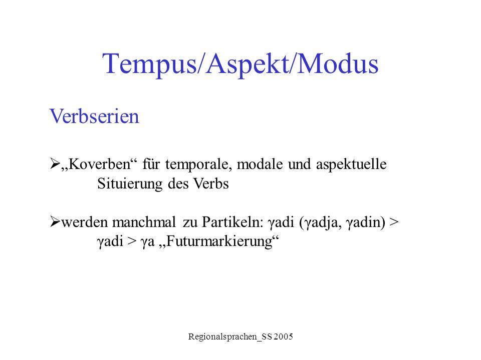"""Regionalsprachen_SS 2005 Tempus/Aspekt/Modus Verbserien  """"Koverben"""" für temporale, modale und aspektuelle Situierung des Verbs  werden manchmal zu P"""