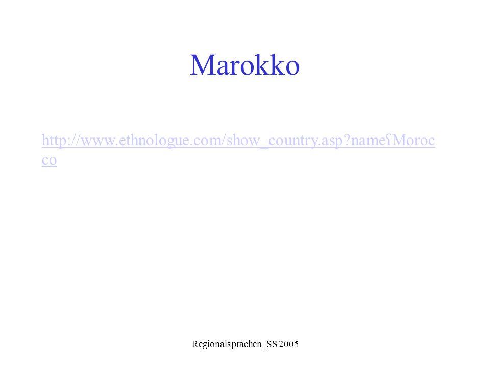 Regionalsprachen_SS 2005 Marokko http://www.ethnologue.com/show_country.asp?name ʕ Moroc co