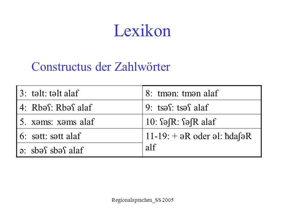 Regionalsprachen_SS 2005 Lexikon Constructus der Zahlwörter 3: t ǝ lt: t ǝ lt alaf8: tm ǝ n: tm ǝ n alaf 4: Rb ǝʕ : Rb ǝʕ alaf9: ts ǝʕ : ts ǝʕ alaf 5.