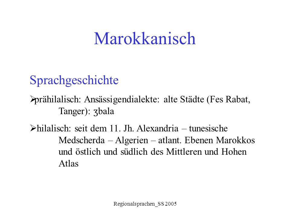 Regionalsprachen_SS 2005 Marokkanisch Sprachgeschichte  prähilalisch: Ansässigendialekte: alte Städte (Fes Rabat, Tanger): ʒ bala  hilalisch: seit d