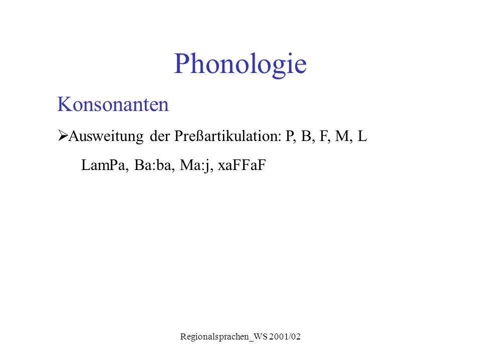 Regionalsprachen_WS 2001/02 Phonologie Konsonanten  Ausweitung der Preßartikulation: P, B, F, M, L LamPa, Ba:ba, Ma:j, xaFFaF