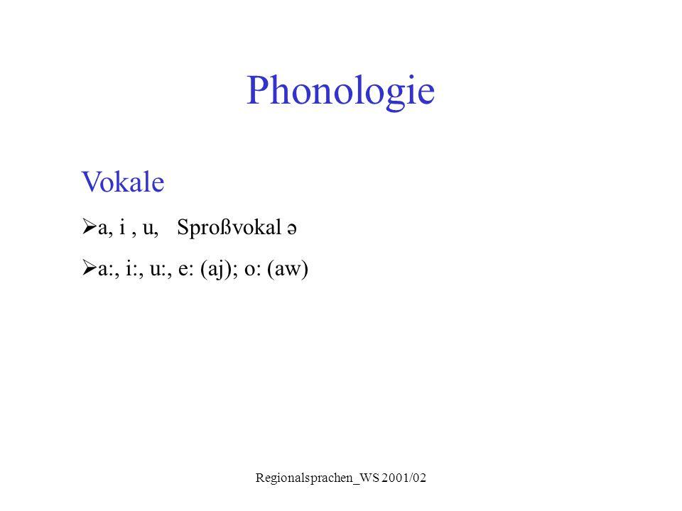 Regionalsprachen_WS 2001/02 Phonologie Vokale  a, i, u, Sproßvokal ə  a:, i:, u:, e: (aj); o: (aw)