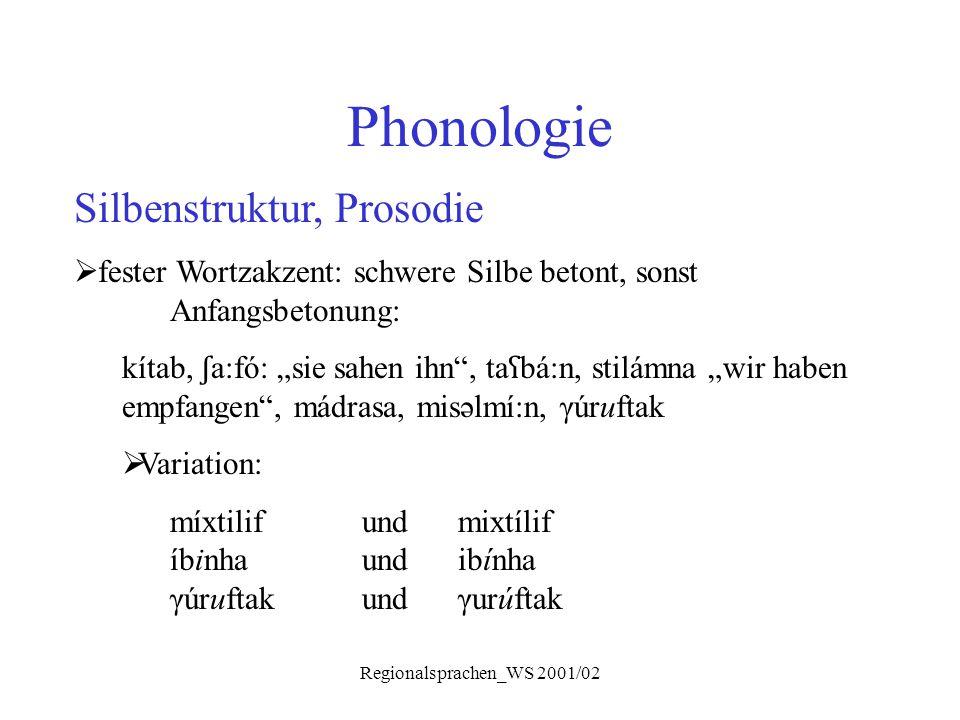 """Regionalsprachen_WS 2001/02 Phonologie Silbenstruktur, Prosodie  fester Wortzakzent: schwere Silbe betont, sonst Anfangsbetonung: kítab, ʃ a:fó: """"sie"""