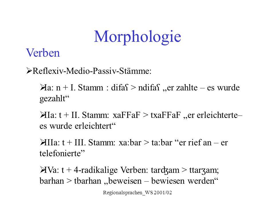 """Regionalsprachen_WS 2001/02 Morphologie Verben  Reflexiv-Medio-Passiv-Stämme:  Ia: n + I. Stamm : difa ʕ > ndifa ʕ """"er zahlte – es wurde gezahlt"""" """