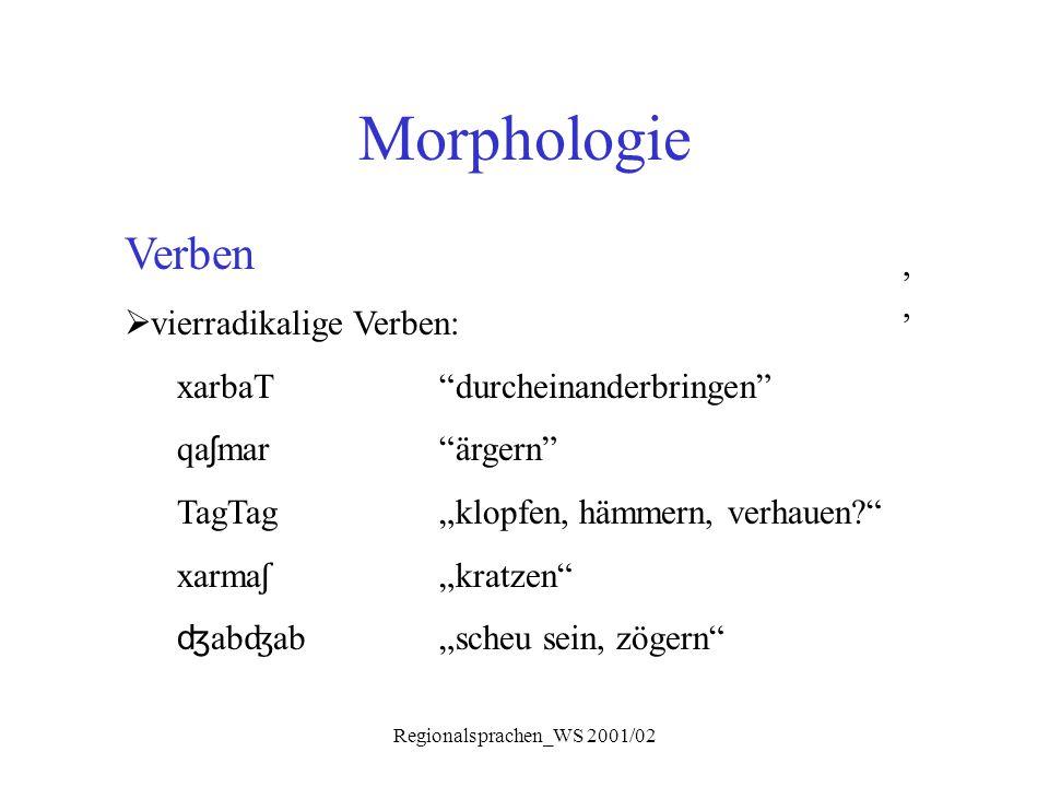 """Regionalsprachen_WS 2001/02 Morphologie, Verben  vierradikalige Verben: xarbaT""""durcheinanderbringen"""" qa ʃ mar""""ärgern"""" TagTag """"klopfen, hämmern, verha"""