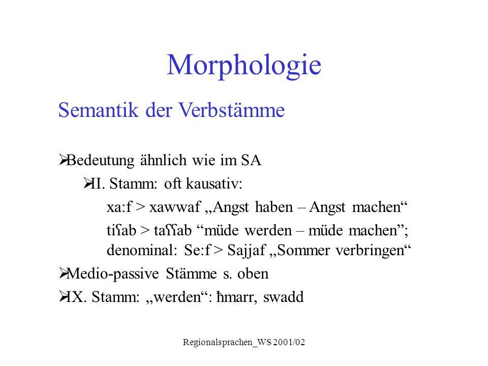 """Regionalsprachen_WS 2001/02 Morphologie Semantik der Verbstämme  Bedeutung ähnlich wie im SA  II. Stamm: oft kausativ: xa:f > xawwaf """"Angst haben –"""
