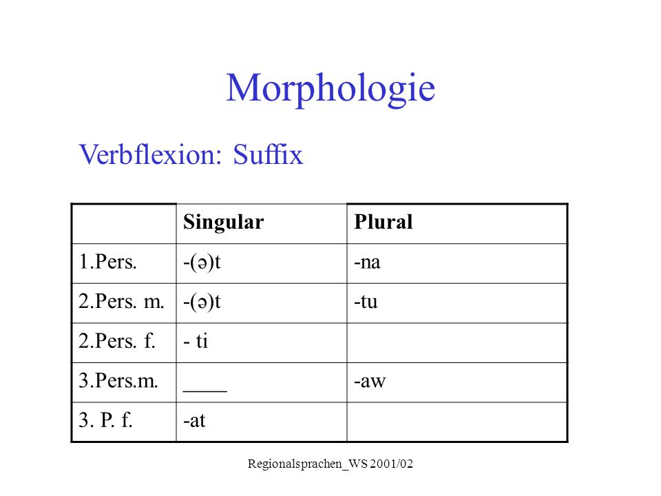 Regionalsprachen_WS 2001/02 Morphologie Verbflexion: Suffix SingularPlural 1.Pers.-(ə)t-na 2.Pers. m.-(ə)t-tu 2.Pers. f.- ti 3.Pers.m.____-aw 3. P. f.