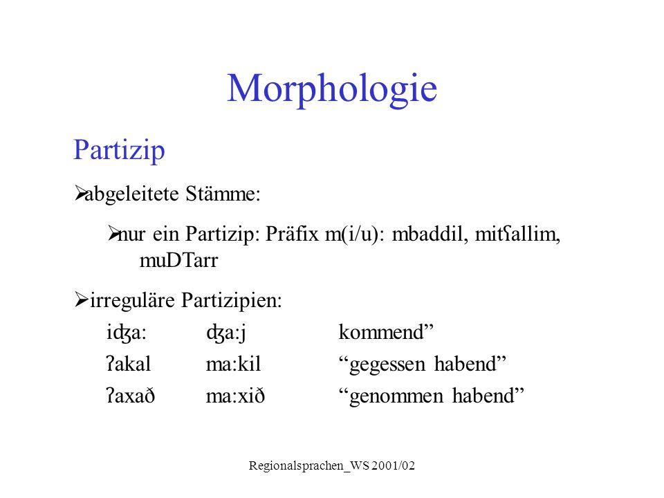 Regionalsprachen_WS 2001/02 Morphologie Partizip  abgeleitete Stämme:  nur ein Partizip: Präfix m(i/u): mbaddil, mit ʕ allim, muDTarr  irreguläre P