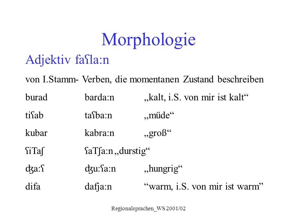 """Regionalsprachen_WS 2001/02 Morphologie Adjektiv fa ʕ la:n von I.Stamm- Verben, die momentanen Zustand beschreiben buradbarda:n""""kalt, i.S. von mir ist"""