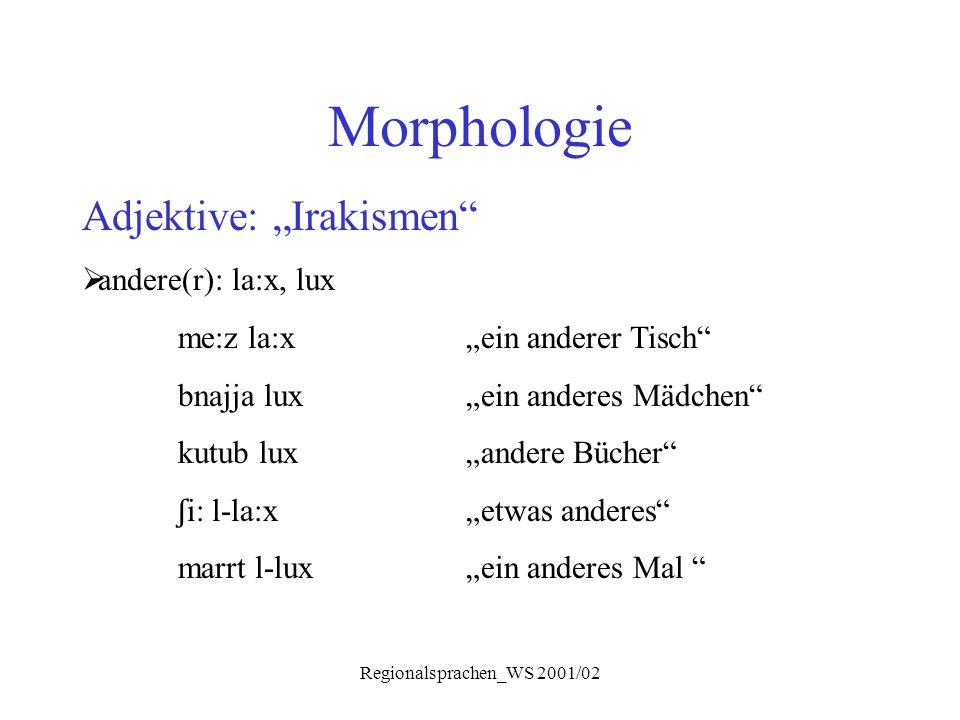 """Regionalsprachen_WS 2001/02 Morphologie Adjektive: """"Irakismen""""  andere(r): la:x, lux me:z la:x""""ein anderer Tisch"""" bnajja lux""""ein anderes Mädchen"""" kut"""